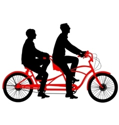 Silhouette of two athletes on tandem bicycle vector