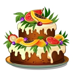 Cake decorated with tropical fruits vector
