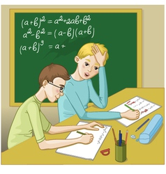 Two boys in a classroom vector
