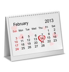 Valentines day in calendar vector