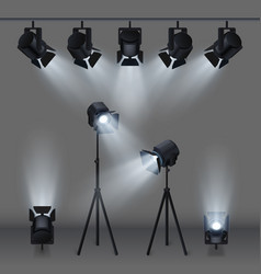 Lighted stage with studio spotlights vector
