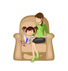 Little girl reading a book with mother in armchair vector