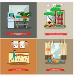 Set of first aid posters in flat style vector