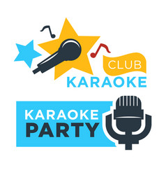 Karaoke club and bar labels or logotype vector