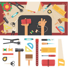 Tools for handmade with leather vector
