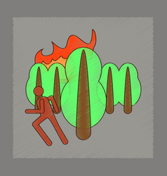 Flat shading style icon fire in forest human vector