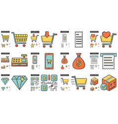 Shopping line icon set vector