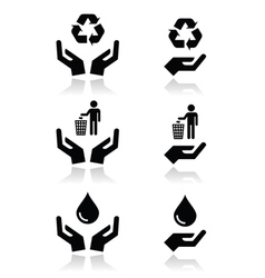 Hands with green ecology symbols icons set vector image