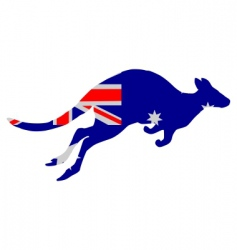 Flag of australia with kangaroo vector