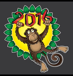 2016 Year of the monkey cartoon vector image