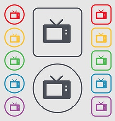 Retro tv mode icon sign symbol on the round and vector