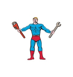 Superhero Handyman Spanner Wrench Cartoon vector image