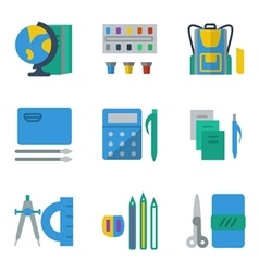 School accessories colored simple icons vector