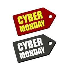 Cyber monday black and red labels on white vector