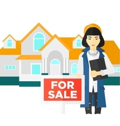 Real estate agent offering house vector image