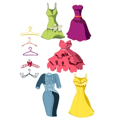 set of bright dresses vector image