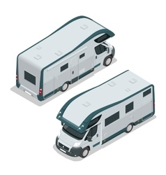 Recreational vehicles for family tourism and vector