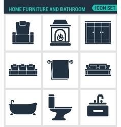 Set of modern icons home furniture and vector