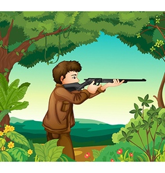 A boy with a gun inside the forest vector