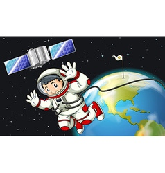 An astronaut in the outerspace near the satellite vector