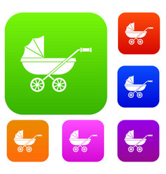 baby carriage set color collection vector image