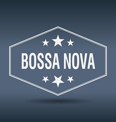 Bossa nova hexagonal white vintage retro style vector