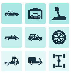 Car icons set collection of repairing carriage vector