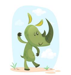 cartoon rhino funny vector image vector image