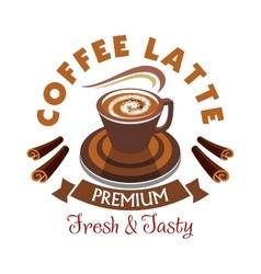 Coffee latte label premium fresh and tasty vector