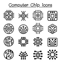 Computer chips and electronic circuit icons in vector