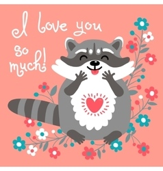 Cute raccoon confesses his love vector