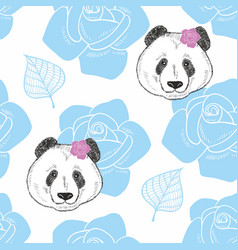 endless background with heads of panda and flowers vector image vector image