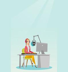 Female dj working on the radio vector