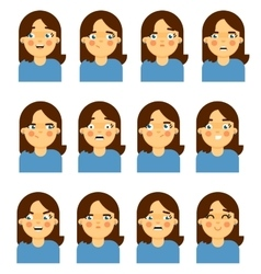 Female face emotional icon on white background vector image