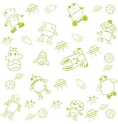 Green robot doodle art vector