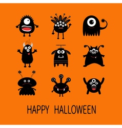 Happy halloween card black monster big set cute vector