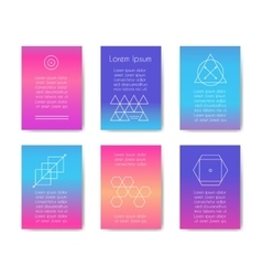 Hipster cards with geometric shapes vector image vector image