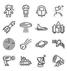 icons set with space tehlology UFO and alien vector image vector image