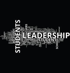 leadership tips for students text background word vector image vector image