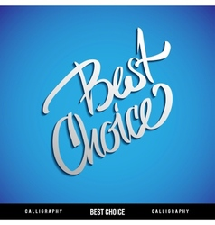 Lettering BEST CHOICE For themes business vector image