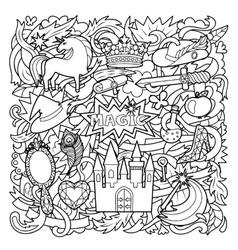 Magic doodle cartoon vector