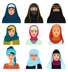 middle eastern female avatars set arabian muslim vector image