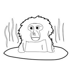 monkey bathe icon outline vector image vector image