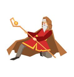 Old wizard holding magic staff colorful fairy vector