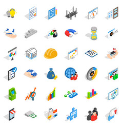 Operator icons set isometric style vector