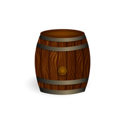 realistic wooden beer barrel isolated vector image vector image