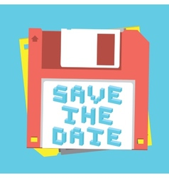 Save the date floppy diskette vector image vector image