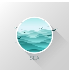 Sea icon Waves and seagulls vector image vector image