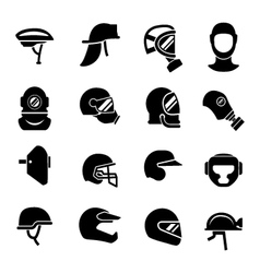 Set icons of helmets and masks vector