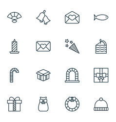 Set of 16 happy new year icons includes fishing vector